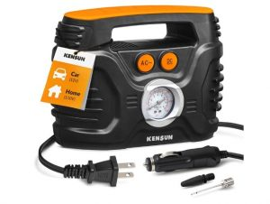 Kensun AC/DC Power Supply Portable Air Compressor Pump with Analog Display to 100 PSI for Home