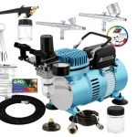 Master Airbrush Cool Runner II Dual Fan Air Compressor Professional Airbrushing System Kit with 3 Airbrushes, Gravity and Siphon Feed - Holder, Color Mixing Wheel, Cleaning Brush Set